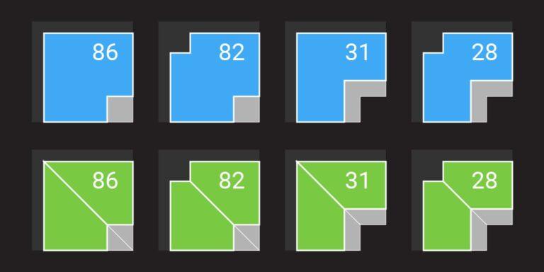 viability ratio (NRSF / Glazing LF) of orthogonal inside corner units