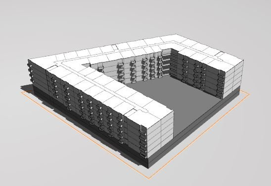 Site with garage parking and building on top