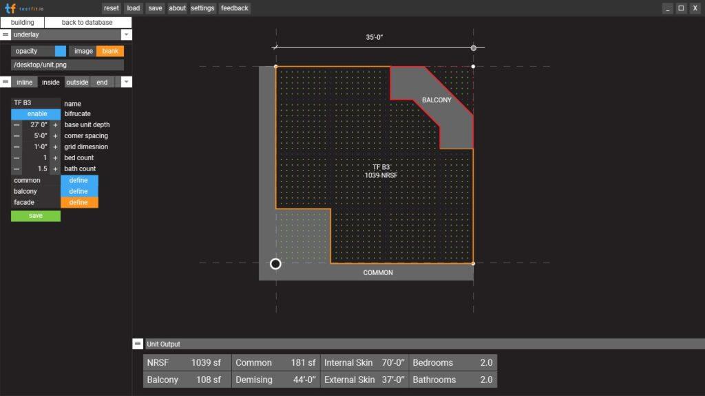 Solving inside corner units with TestFit