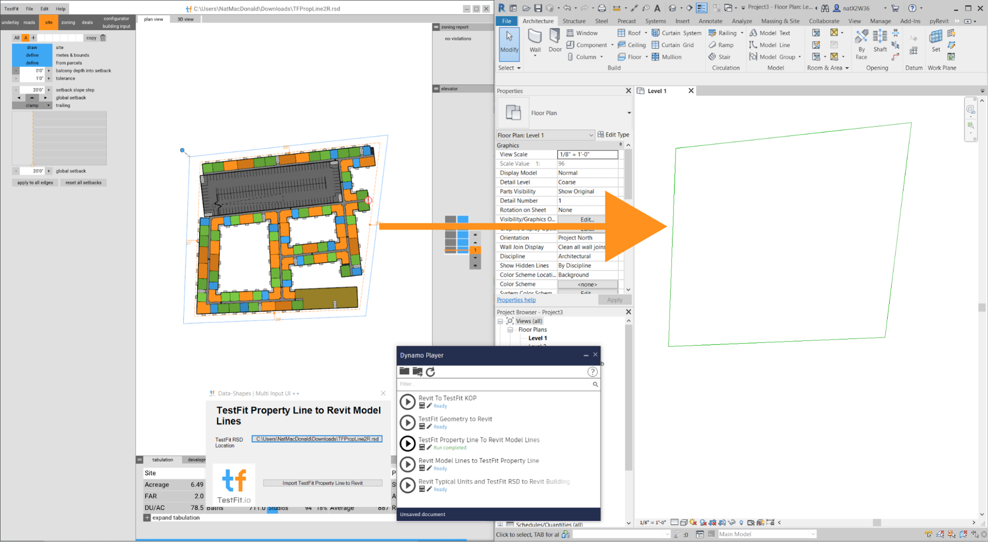 Property lines from TestFit to Revit